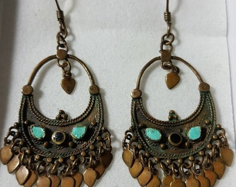 Vintage Middle Eastern Earrings .Ethnic Jewelry. Long Chandelier Earrings.