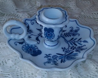 Beautiful vintage Candle Holder Blue and White