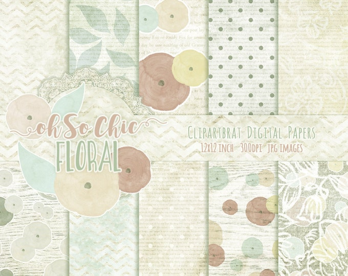 MINT WATERCOLOR FLOWERS Digital Paper Pack Commercial Use Backgrounds Mint & Cream Digital Paper with Shabby Chic Wood Lace Digital Paper