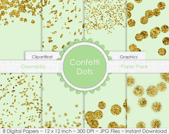 GOLD FOIL CONFETTI Digital Paper Pack Commercial Use Digital Background Papers Mint & Gold Confetti Dots Digital Paper Party Printable