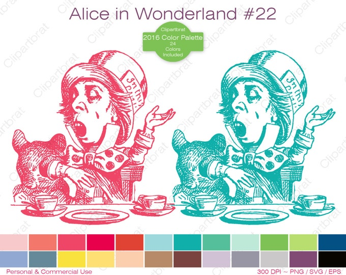 ALICE IN WONDERLAND Clipart Commercial Use Clipart The Mad Hatter Sings Graphic 2016 24 Color Palette John Tenniel Stamp Vector Png Eps Svg