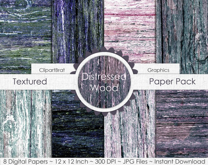 DISTRESSED WOOD Digital Paper Pack Commercial Use Digital Background Gray Teal Pink Wood Grain Digital Paper Painted Barn Wood Panel Papers