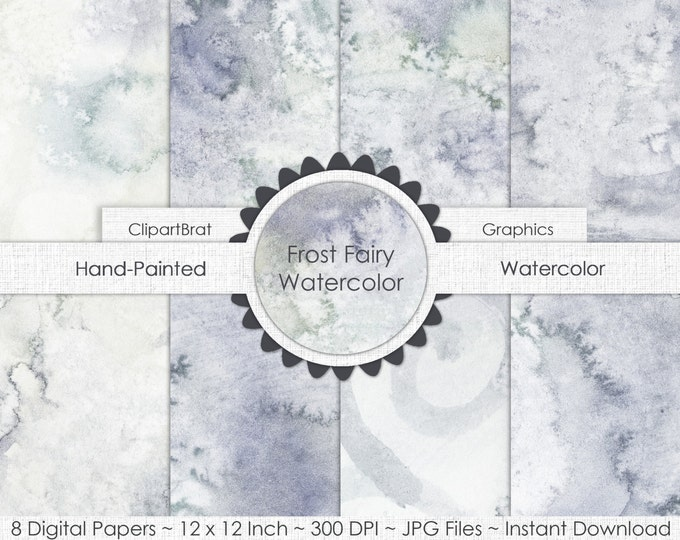 GRAY WATERCOLOR Digital Paper Commercial Use Background Paper Frost Fairy Silver Ice Frozen Hand-Painted Real Watercolor Digital Papers