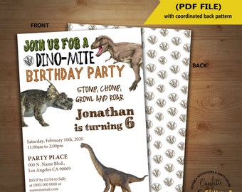 Dinosaur Birthday Invitation dino party invite Instant Download YOU EDIT TEXT and print yourself invite 5154