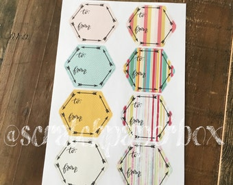 Hexagon To From Sticker Tags