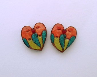 glitter love bird earrings bamboo