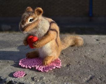 Toy Chipmunk milled wool.