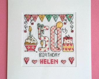 Happy 50th Birthday cross stitch card kit