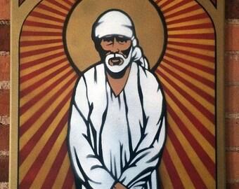 Sai Baba of Shirdi - Faith & Patience - 18x24 original spray paint on canvas