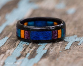 Blue Orange Purple Ebony Wood Ring -  SpectraPly Inlay Wooden Mens Engagement Ring Womens Wedding Band Gaboon Black Couples Rings Multicolor