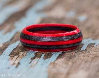 Red Gray Wood Ring - Spectraply Wooden Band Mens Womens Engagement Wedding Ring Wood Anniversary Couples Ring Grey Birch Wood Stripe Ring