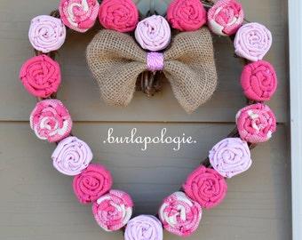 Valentine's Day Burlap Rosette Wreath, Pink Burlap Wreath, Heart Grapevine Wreath, Holiday Decor.