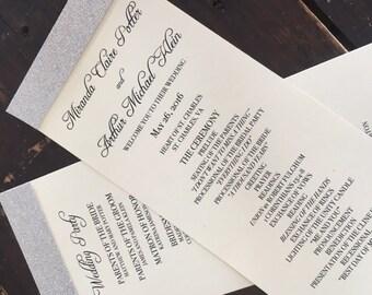 Glitter Wedding Programs - IVORY & SILVER