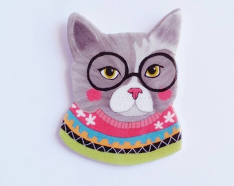"""Brooch // Pin // Wearable art // Cat // Kitty // shrink plastic // """"Cat in a Sweater"""" // quirky jewelry"""