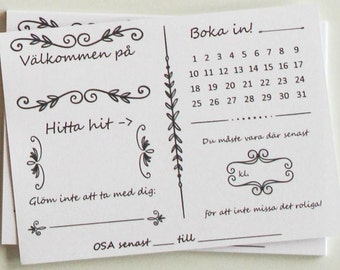 Inbjudningskort till födelsedag, fest, middag, party. Invitations for birthday, dinner, party. Swedish invitations.
