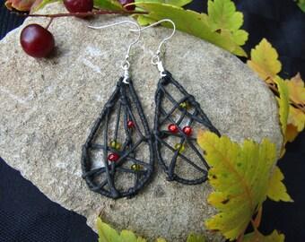 Black teardrop Dream Catcher earrings