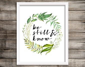 "8x10 ""Be Still and Know"" + Watercolor Leaf Wreath Printable and Instant Download"