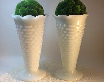 White Milk Glass Large Vase Shabby Cottage Chic Decor Vintage Wedding Decor Vintage Wedding