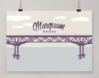 Marquam Bridge / Illustrated Print / Portland, Oregon Design