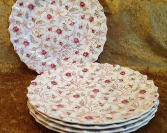 "Set of 5 ROSEBUD CHINTZ 10 1/2"" dinner plates discontinued pink rose bud yellow flowers England Copeland Spode china vintage"