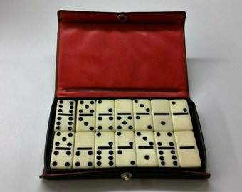 DOUBLE SIX TRAVEL Miniature Dominoes Vintage Set from the 1960's and 1970's