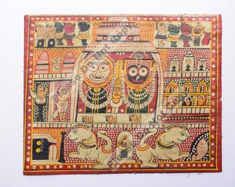 Vintage Rare Jagannath Puri Krishna Balraam Subhdra Original Old Gouache Painting Orissa #3408