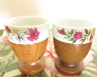 floral china/ wood egg holder/ boiled eggs/ retro