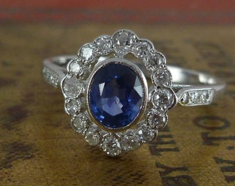 Antique Edwardian Sapphire & Diamond Ring 18ct White Gold Ring