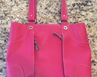 Faux Pink Leather, Tommy Hilfiger purse, Tommy Hilfiger pink handbag, pink purse, pink handbag, pink tote, pink messenger bag