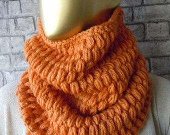 Orange Crochet Scarves, women winter scarf, women accessories