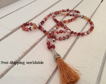 Mala Necklace, 108 Agate beads Mala Necklace, Meditation Mala Necklace, Yoga Necklace,Buddhist Mala Necklace, Brown Agate Necklace