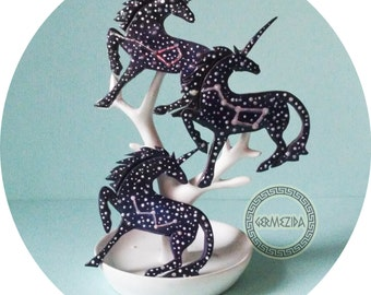 brooches, polymer clay, brooches unicorns star, starry sky. magical beast, accessory with stars, constellations, casual