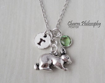 Rabbit Necklace - Antique Silver Bunny Jewelry - Monogram Personalized Initial and Birthstone