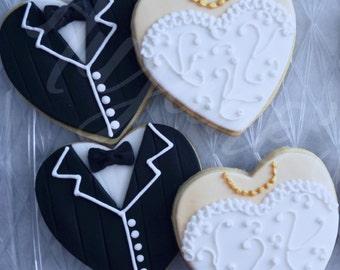 One Dozen Bride and Groom Decorated Sugar Cookies - Wedding Cookies - Bridal Cookies - Custom Cookies