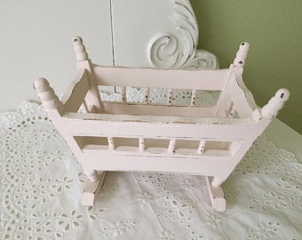 Sweet Miniature Doll Rocker Cradle with Spindles Pale Pink Chalk Paint Distressed Shabby Chic Cottage Chic