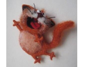 Original brooch, Singing cat,  felt cat, ginger cat,Toys, Felt doll, Handmade toys, Needle felting, Felt toys, brooch, gifts, Gifts for her