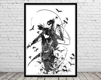 Batgirl inspired, watercolor Batgirl, Batgirl print, Batgirl art, Superhero, Wall Art,Poster, Home Decor, kids Room Art (2042b)