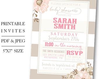 Printable/Digital Floral Baby Girl Shower Invite