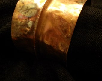 Flame painted copper bangle
