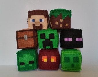 Minecraft Block, Handmade Felt Stuffed Plush, Party Favors, Gamer Gifts, (unofficial)