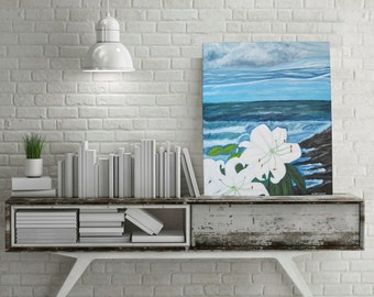 Lilies and Ocean Scene Oil Painting