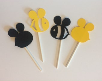 Bee Cupcake toppers, Set of 12 Bee Themed Cupcake Toppers, Bee Baby Shower Decorations, Bumble Bee Party Decorations