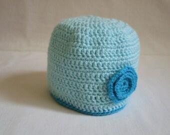 Crochet Baby Hat, Turquoise Crochet Baby Boy Hat