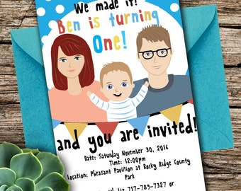 Children's Birthday invitation, Drawing, Custom Illustration (First Birthday)