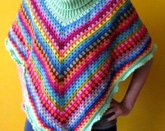 Handmade Crochet Rainbow Poncho