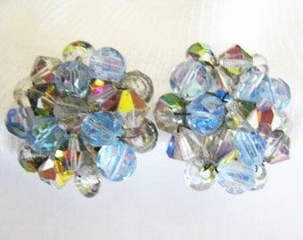 Aurora Coloed Beads Clip Earrings