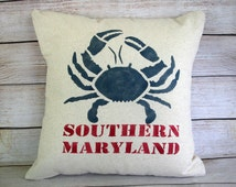 Throw Pillow - Southern Maryland, Blue Crab