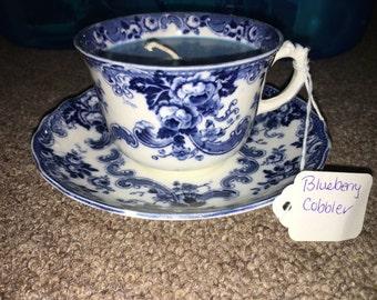 Blueberry cobbler floral teacup