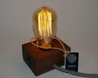 Mini Edison wood lamp dark brown.