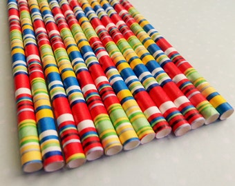 Paper Straws - colorful paper straws - birthday party straws - Straws 10 count